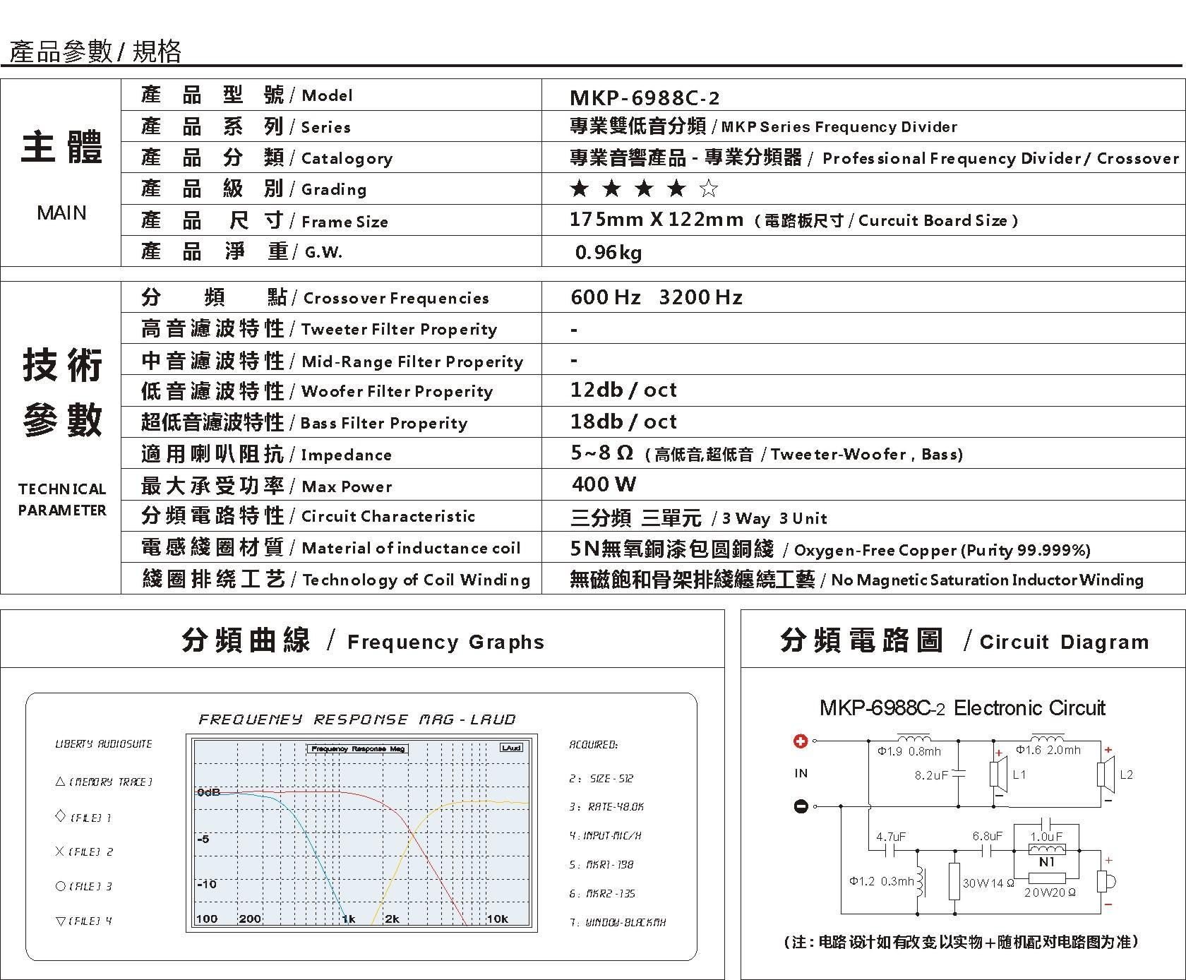 mkp-6988c-2 高级专业双低音分频 - 专业音箱分频器